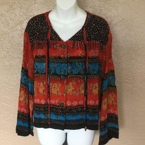 Carole Little Hippie Boho Chic Shirt 12 L EUC